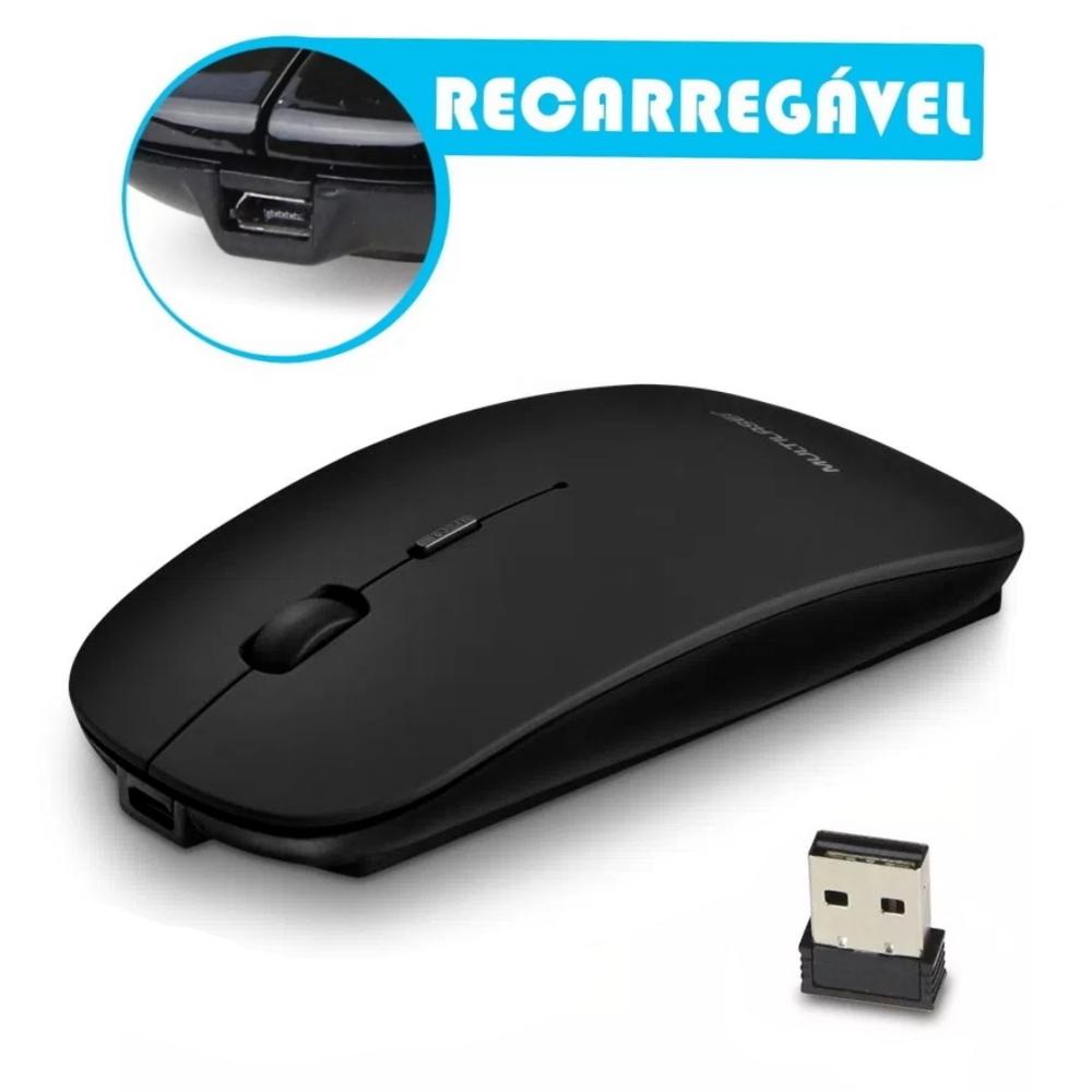 Mouse Recarregável Sem fio com Clique Silencioso