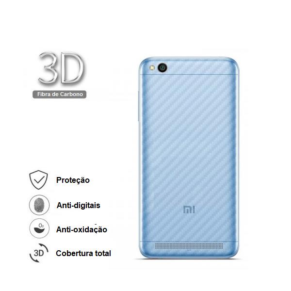 Película Traseira Protetora Fibra de Carbono p/ Xiaomi Mi 8