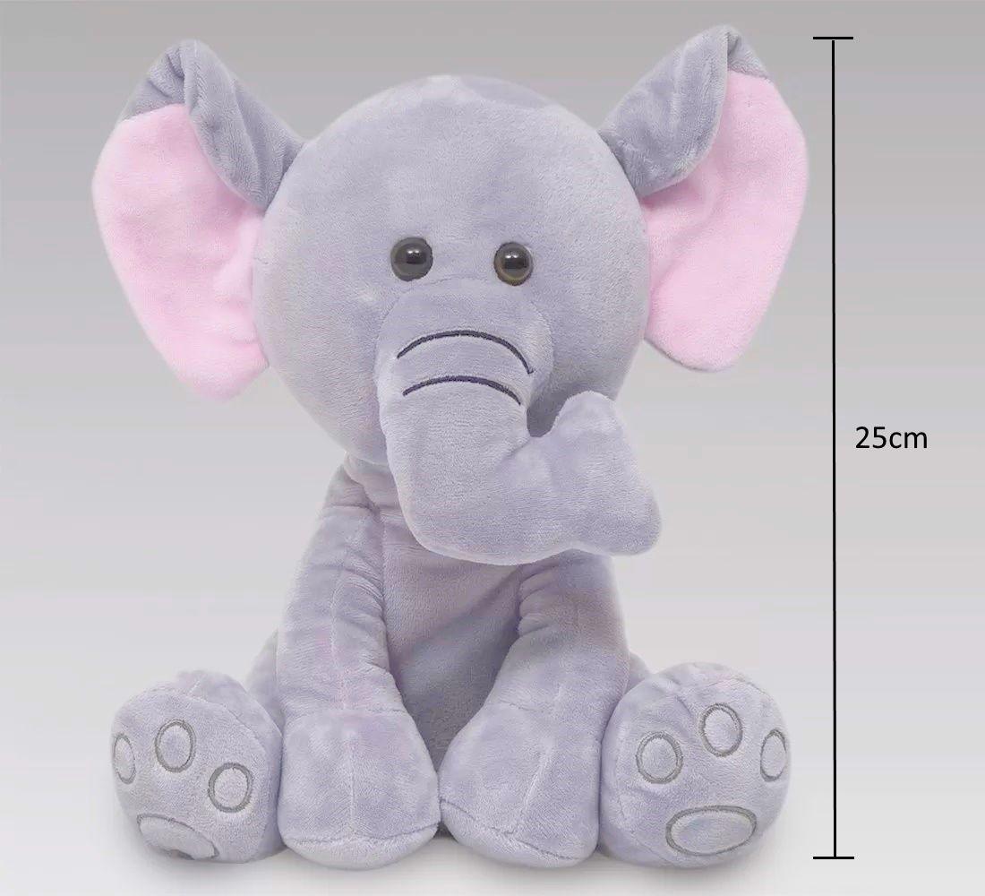 Pelúcia Bebe meu Elefantinho de 25cm para crianças acima de 3 meses