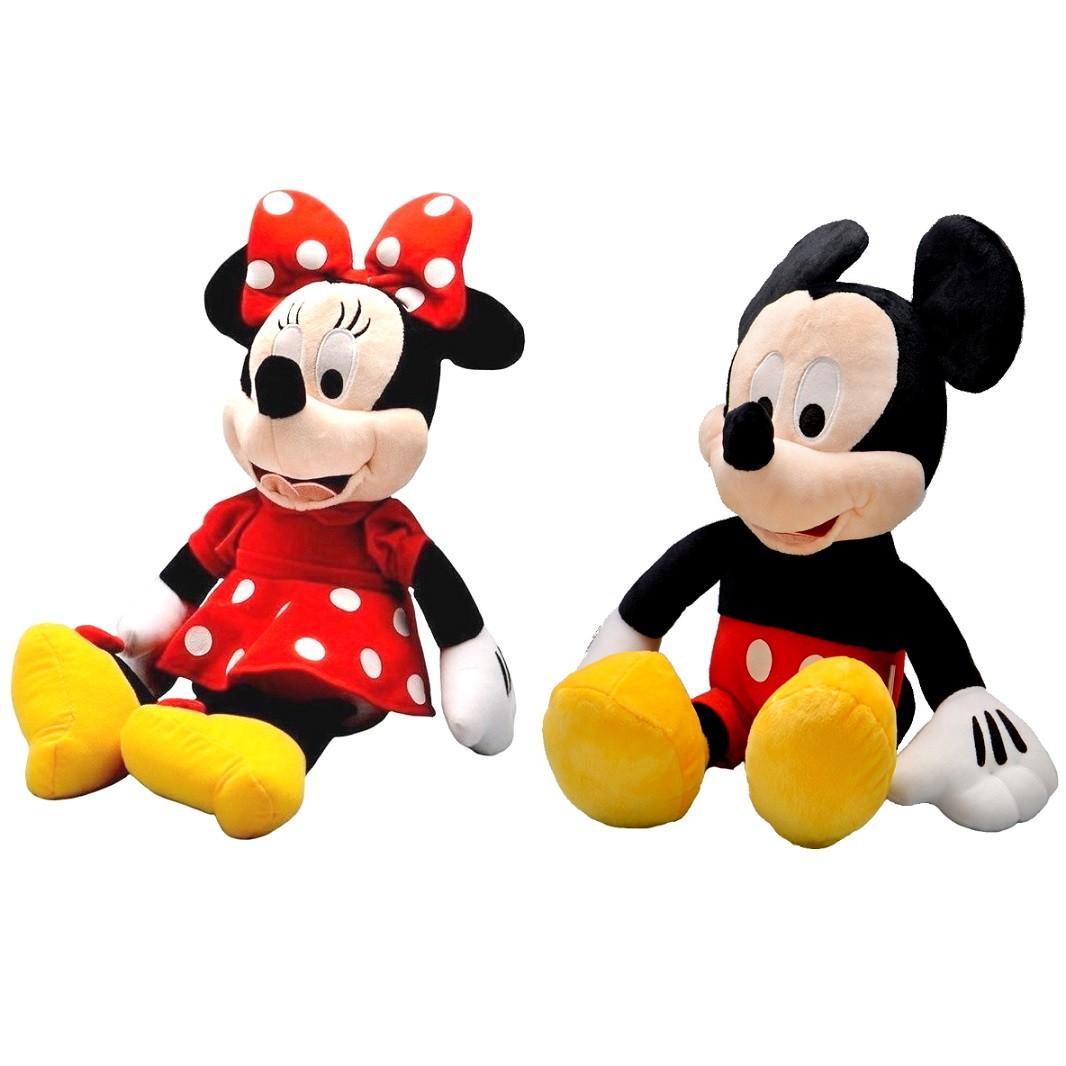 Pelúcia Casal Mickey Mouse e Minnie de 45cm com falas em Português Premium