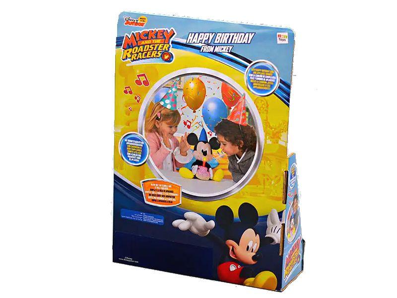 Pelúcia Mickey Mouse Happy Birthday de 30cm com Som Toca Música de Parabéns Disney
