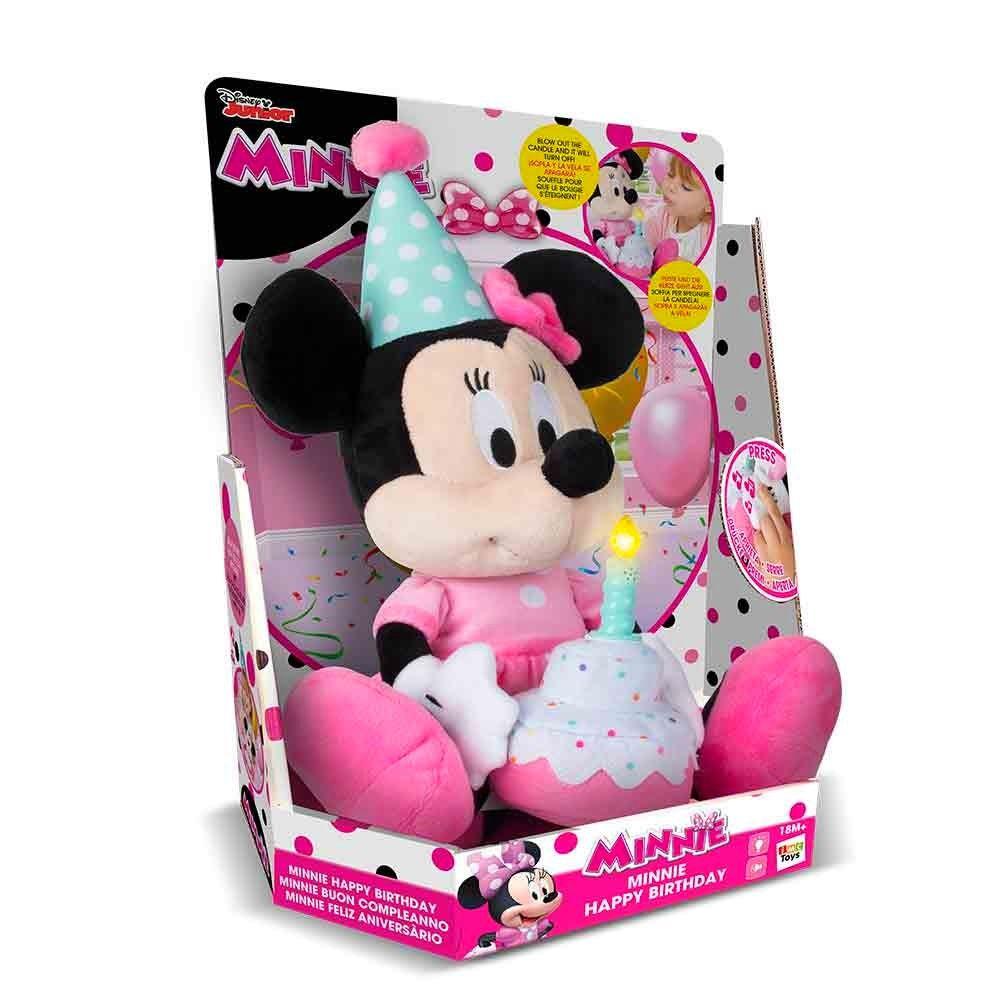 Pelúcia Minnie Happy Birthday de 30cm com Som Toca Música de Parabéns Disney