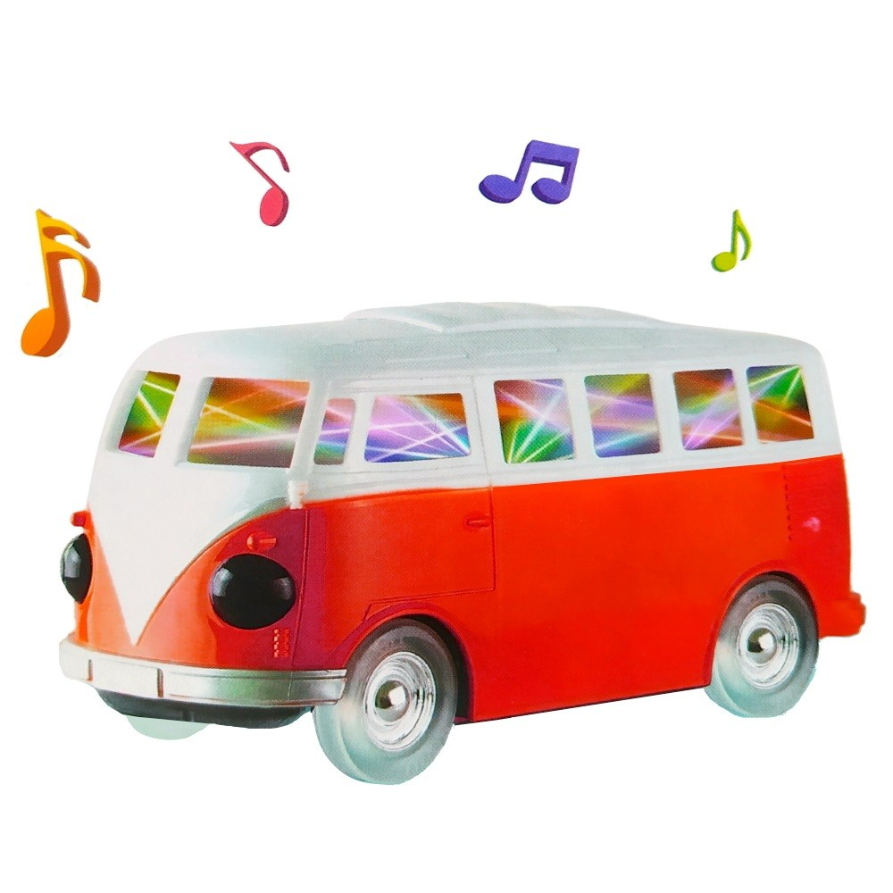 Perua Kombi de Brinquedo que Gira Bate e Volta e Toca Música Animada