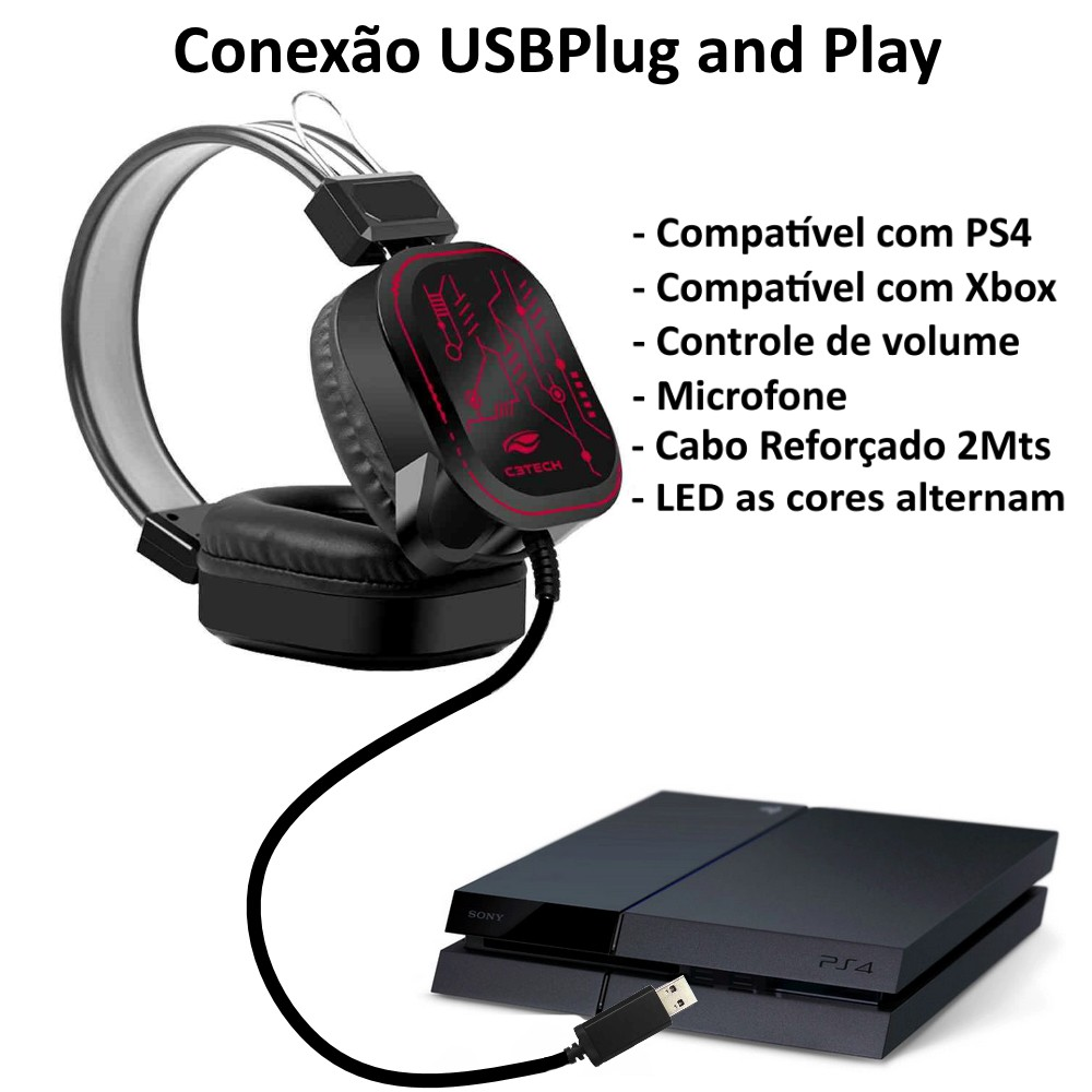 PH-G320BK - Fone c/ Microfone Game USB Crane C3Tech