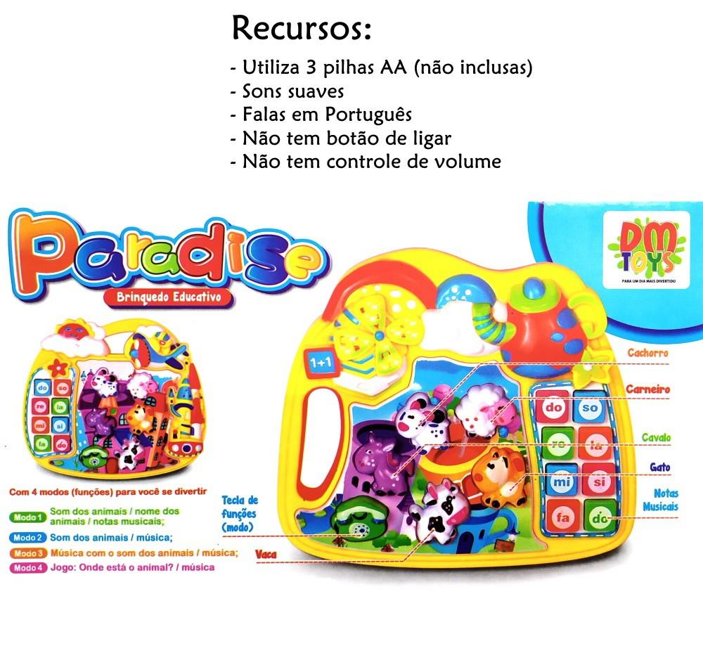Pianinho Infantil Educativo com Músicas Sons de bichos e Jogo