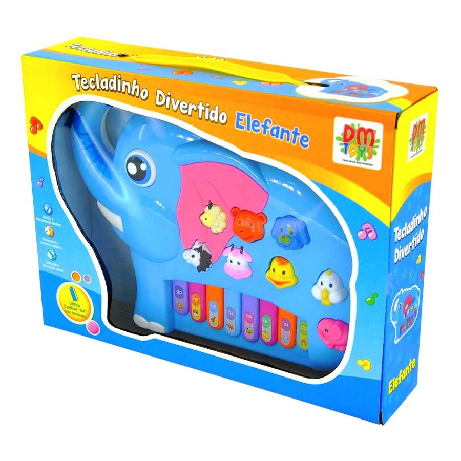 Pianinho Infantil Educativo Elefante com Músicas Sons de bichos Azul