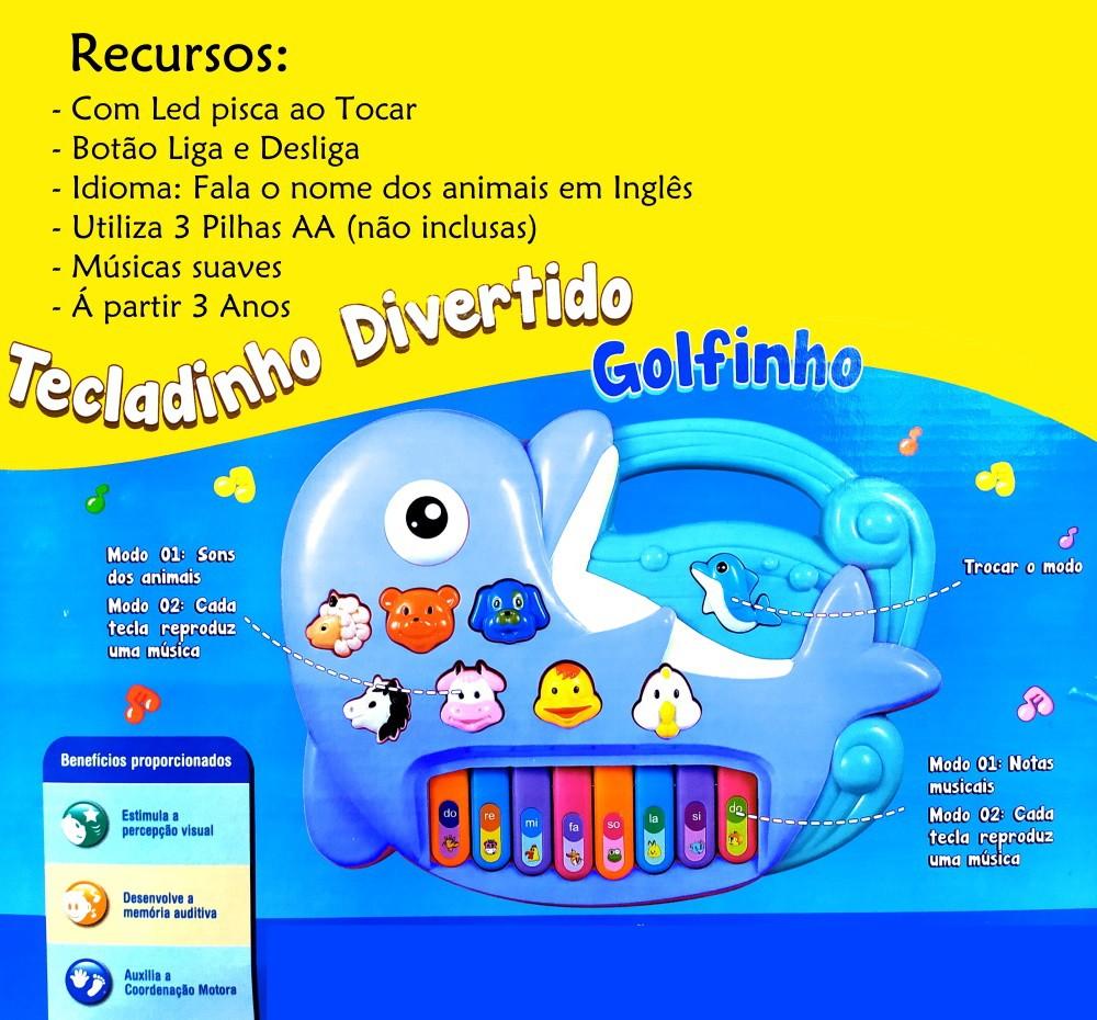 Pianinho Infantil Educativo Golfinho com Músicas Sons de bichos