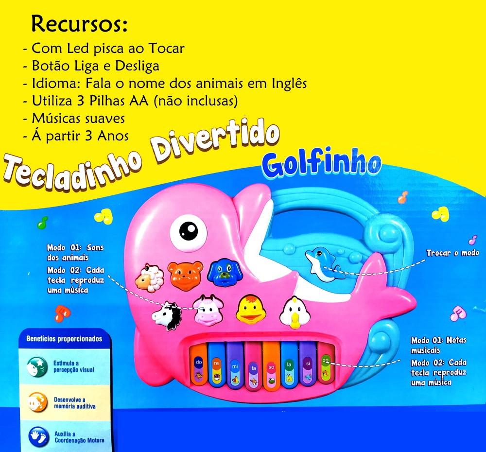 Pianinho Infantil Educativo Golfinho com Músicas Sons de bichos Rosa