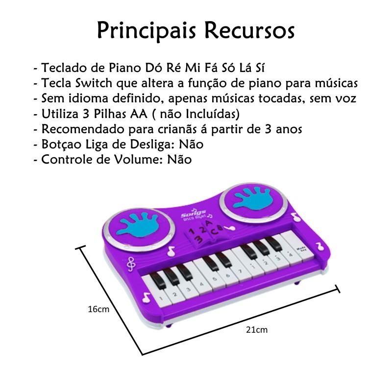 Pianinho Infantil Educativo Piano Do Ré Mi Fa Musical Estimulante Roxo