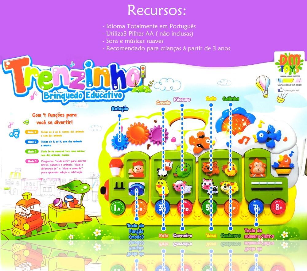Piano Infantil Educativo em Português Trenzinho Sons de bichos Músicas