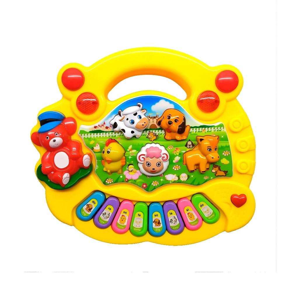 Piano Musical Baby Bichos com Luzes Coloridas Músicas Sons e Alça para Segurar - Amarelo