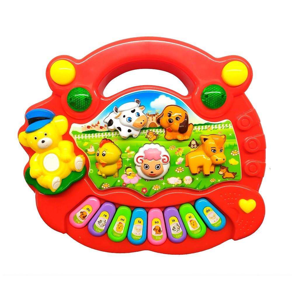 Piano Musical Baby Bichos com Luzes Coloridas Músicas Sons e Alça para Segurar - Vermelho