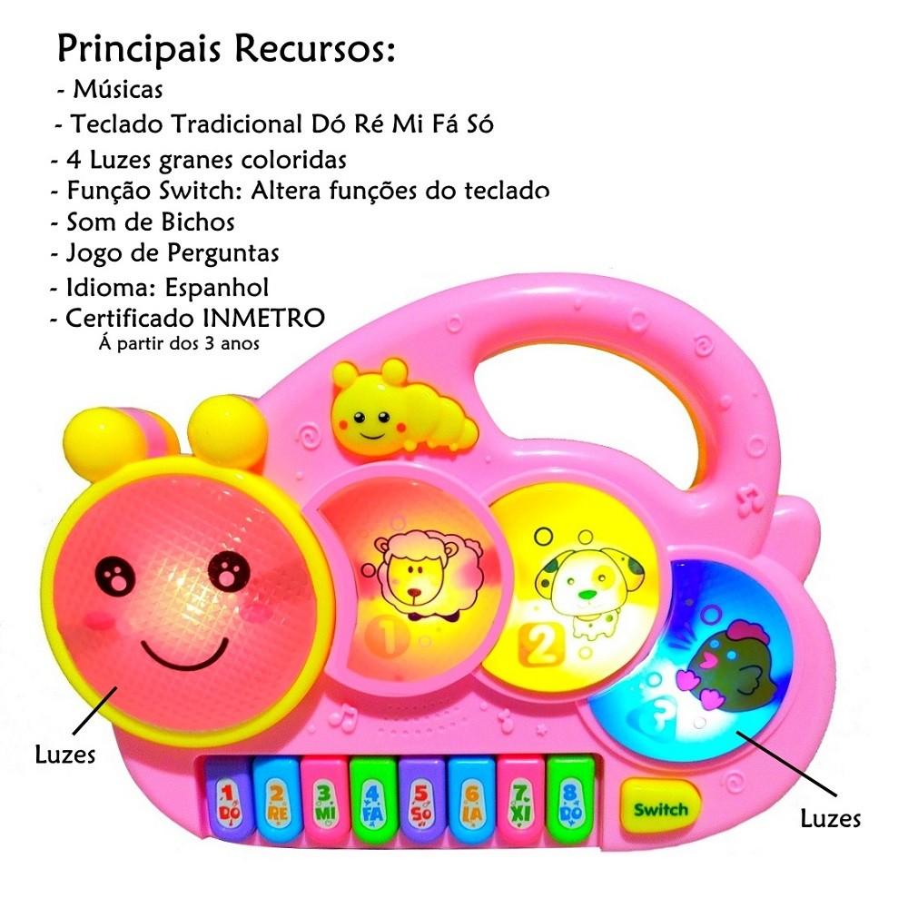 Piano Musical Baby com Luzes Coloridas Músicas Sons e Bichos e Alça p Segurar - Rosa