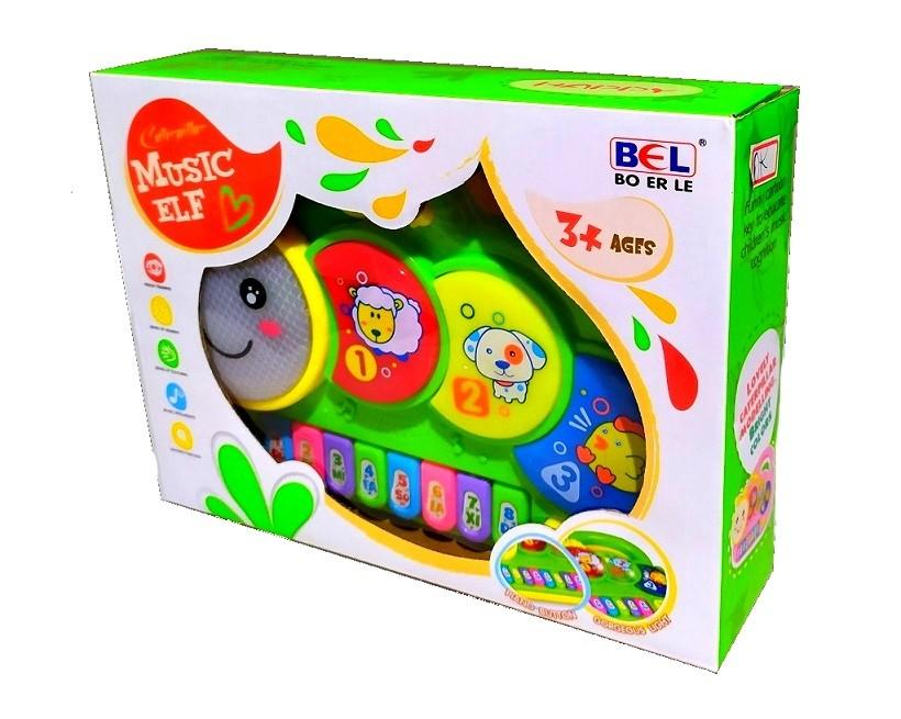 Piano Musical Baby com Luzes Coloridas Músicas Sons e Bichos e Alça p Segurar - Verde