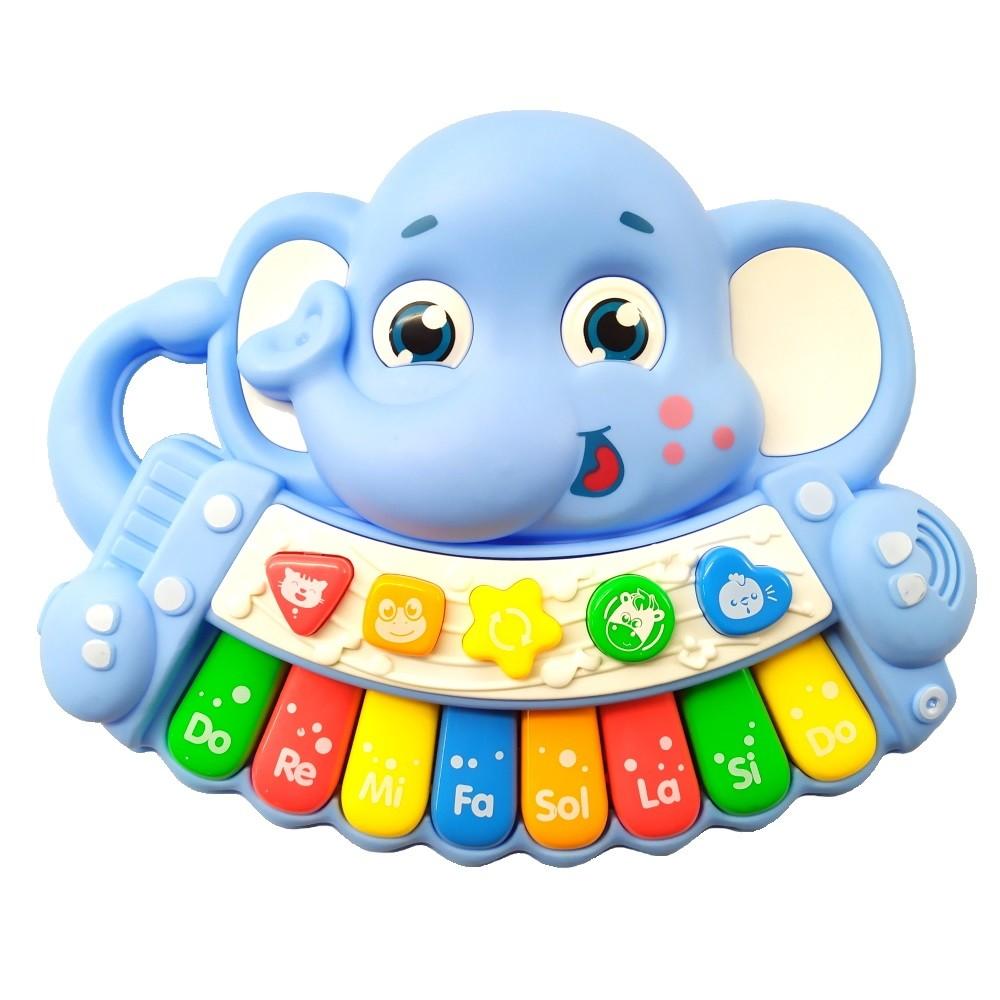 Piano Musical Infantil Baby Dó Ré Mi Fá Elefantinho com Luz e Alça Azul