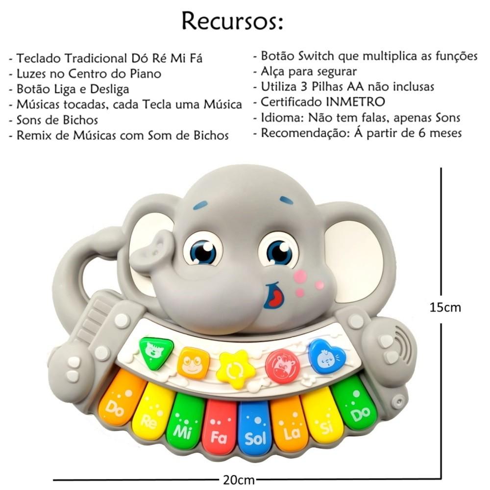 Piano Musical Infantil Baby Dó Ré Mi Fá Elefantinho com Luz e Alça Cinza