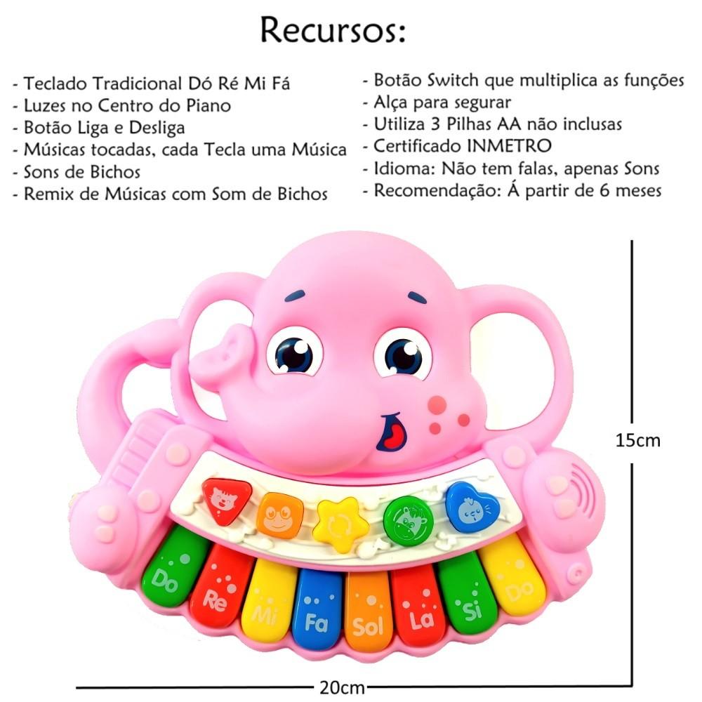 Piano Musical Infantil Baby Dó Ré Mi Fá Elefantinho com Luz e Alça Rosa