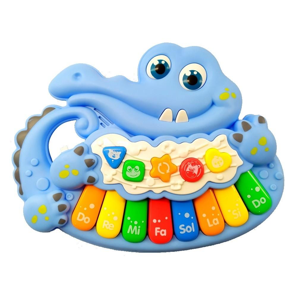 Piano Musical Infantil Baby Dó Ré Mi Fá Jacaré com Luz e Alça Azul