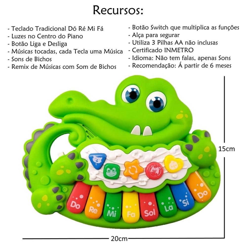 Piano Musical Infantil Baby Dó Ré Mi Fá Jacaré com Luz e Alça Verde