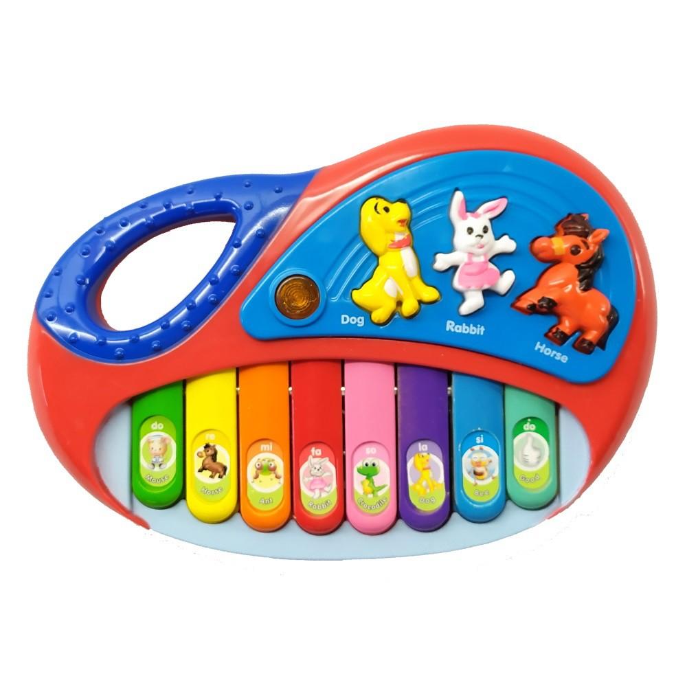 Piano Musical infantil com Alça Luz e Músicas e teclado Dó Ré Mi Fá