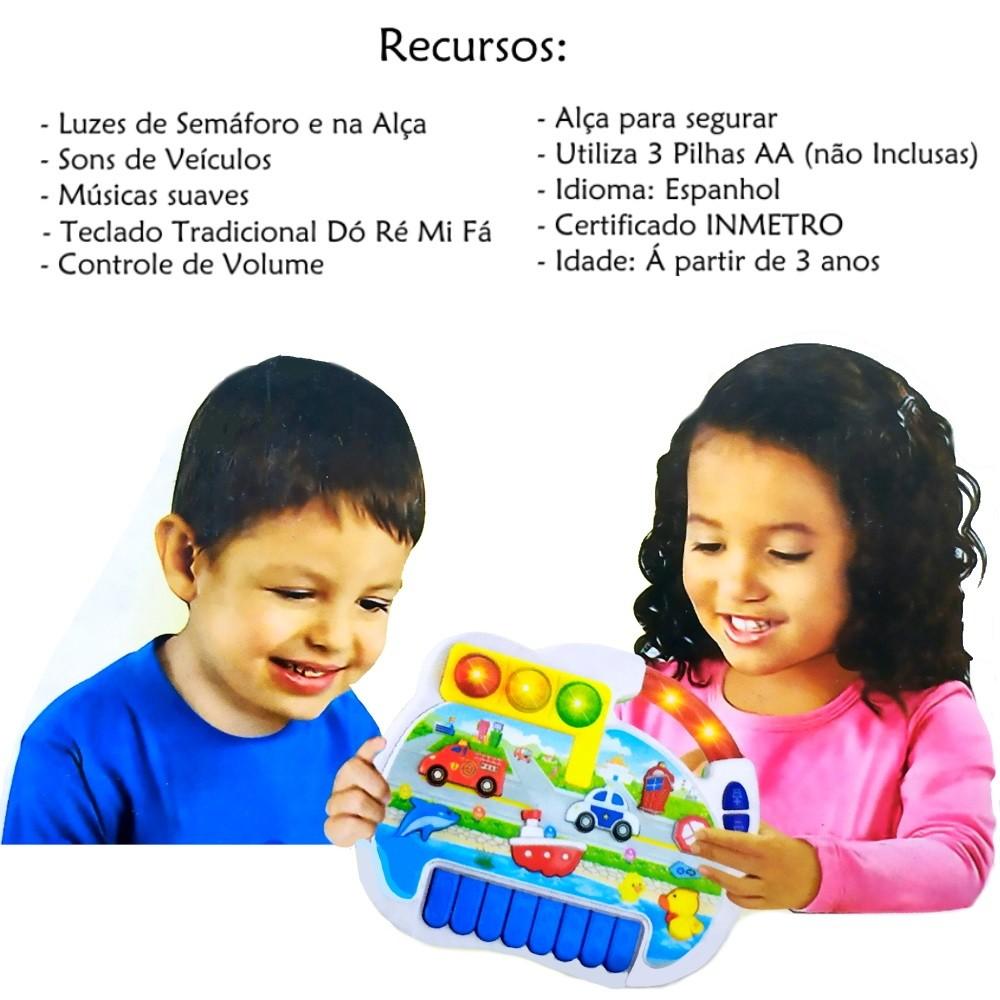 Piano Musical Infantil Luzes de Semáforo com Alça Sons Suaves e Controle de Volume