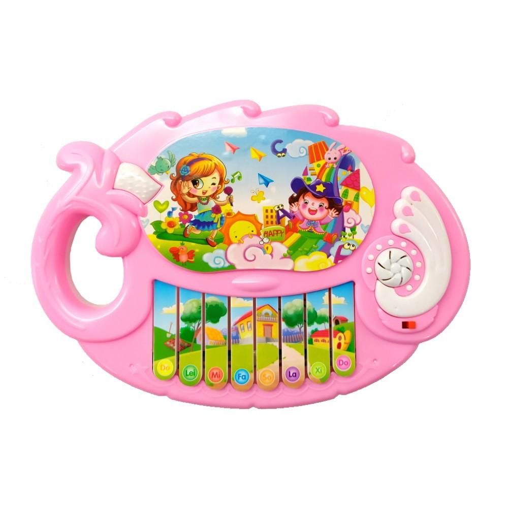 Piano Musical Infantil Rosa com Músicas e Alça para Segurar Meninas