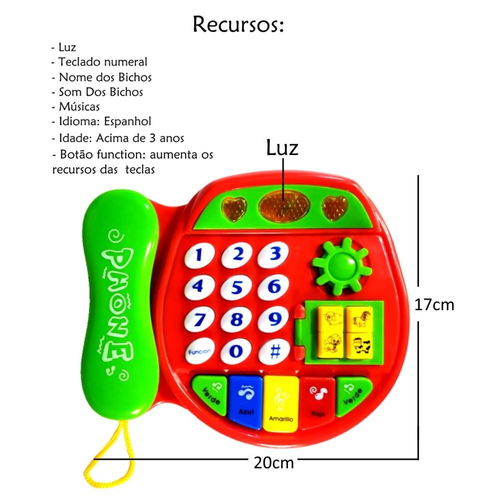 Piano Telefone Musical com Luz Músicas e Sons de Bichos Vermelho