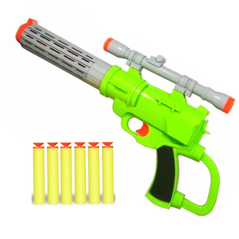 Pistola super Arminha com Mira e 6 Dardos Tiro ao Alvo Grande 45cm Verde Claro e Cinza