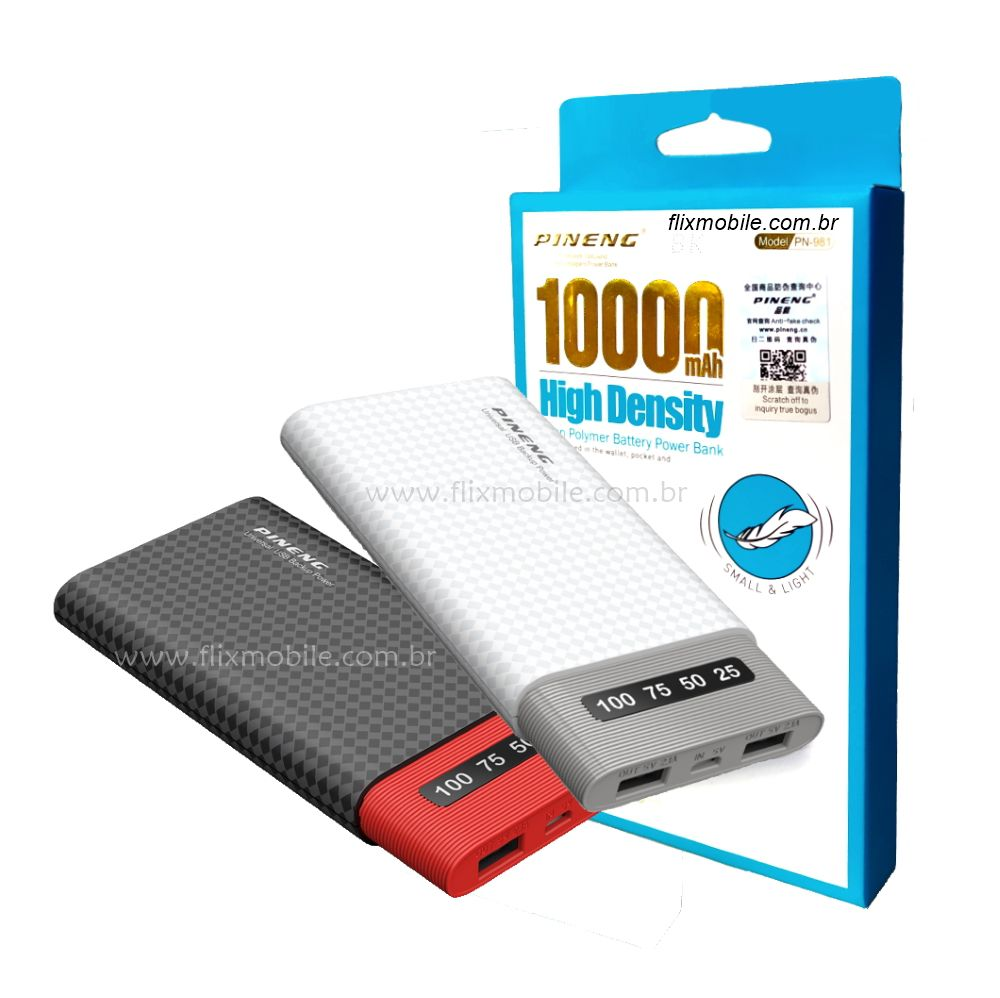 Power Bank Pineng 10000mah Carregamento Duplo Rápido