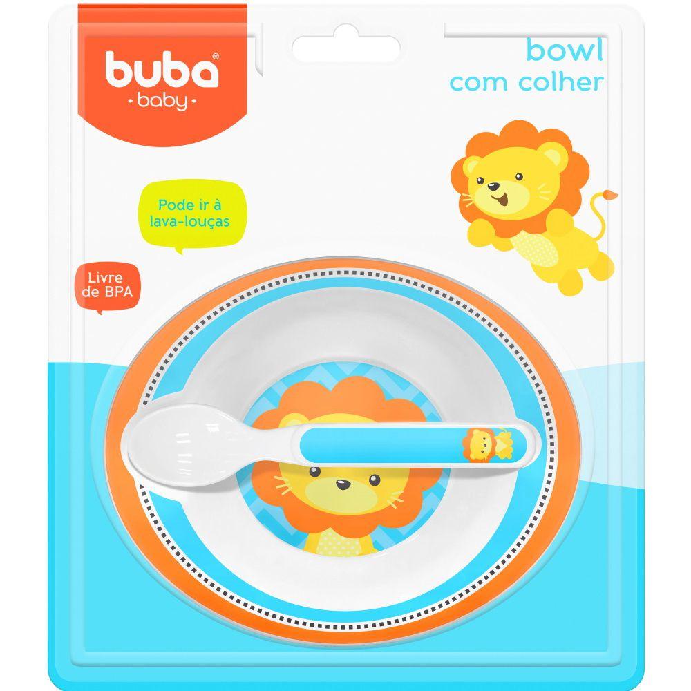 Pratinho com Colher Infantil Bowl Leãozinho para Papinha do Bebê