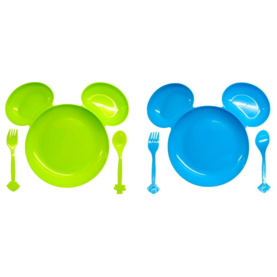 Pratinho Infantil com Orelhas Divisórias Garfo e Colher Kit Azul e Verde