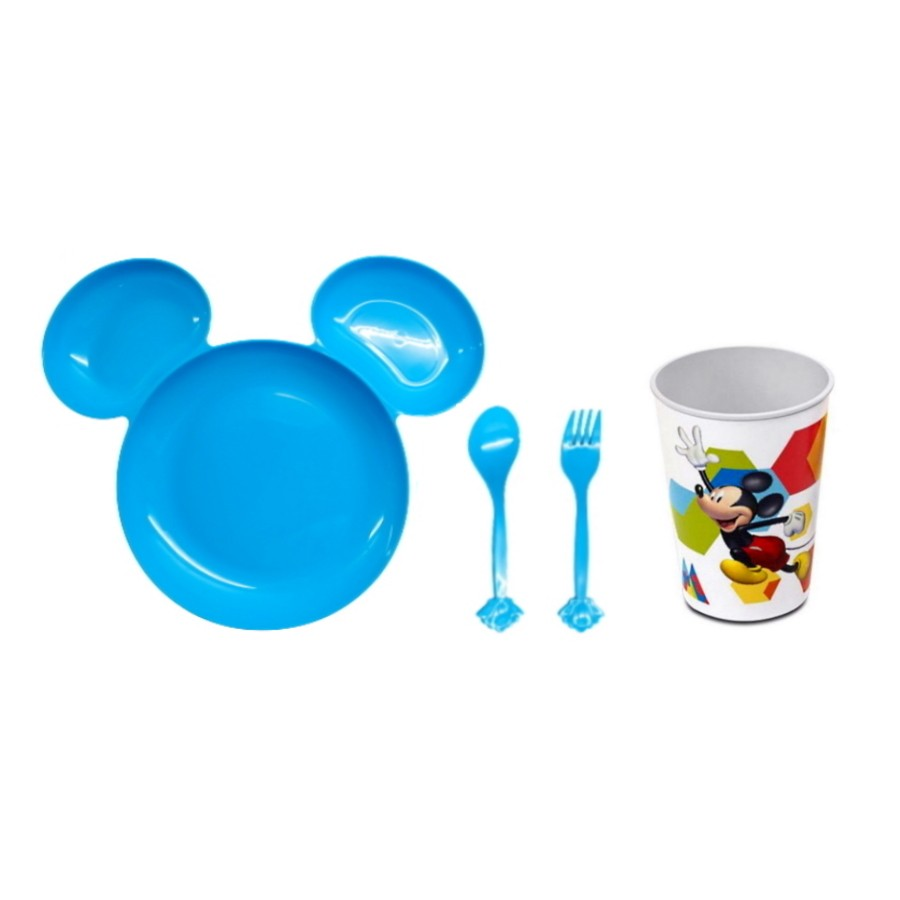Prato Alimentação Bebê com Divisórias e Copo Estampado do Mickey