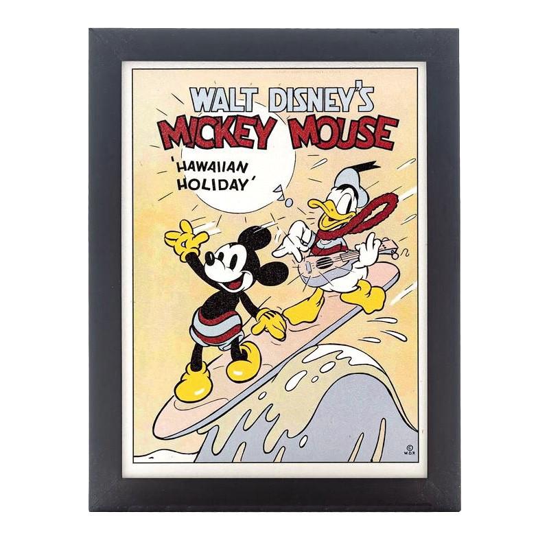 Quadro Decorativo Disney Disney Mickey e Donald Hawiian Holiday com Moldura Preta