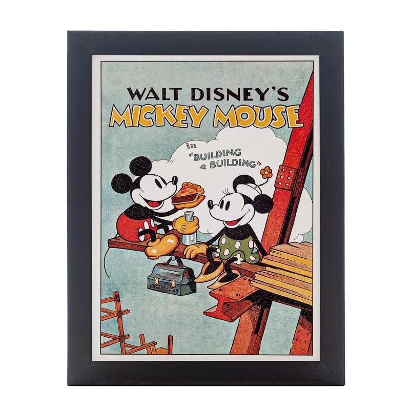 Quadro Decorativo Disney Mickey e Mninnie cena clássica Picnic no Andaime Moldura Preta