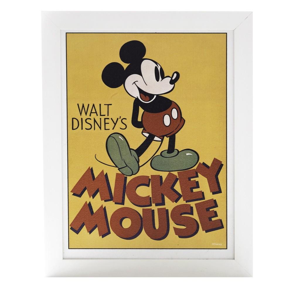 Quadro Decorativo Disney Mickey Mouse Vintage com moldura branca