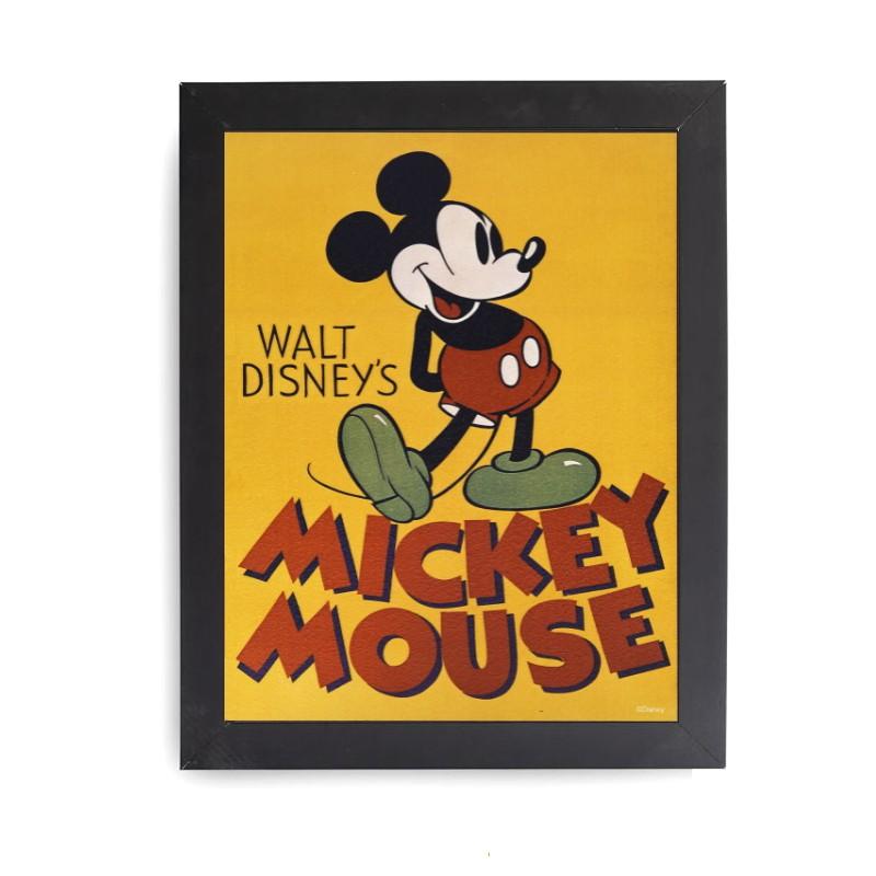 Quadro Decorativo Disney Mickey Mouse Vintage com moldura preta