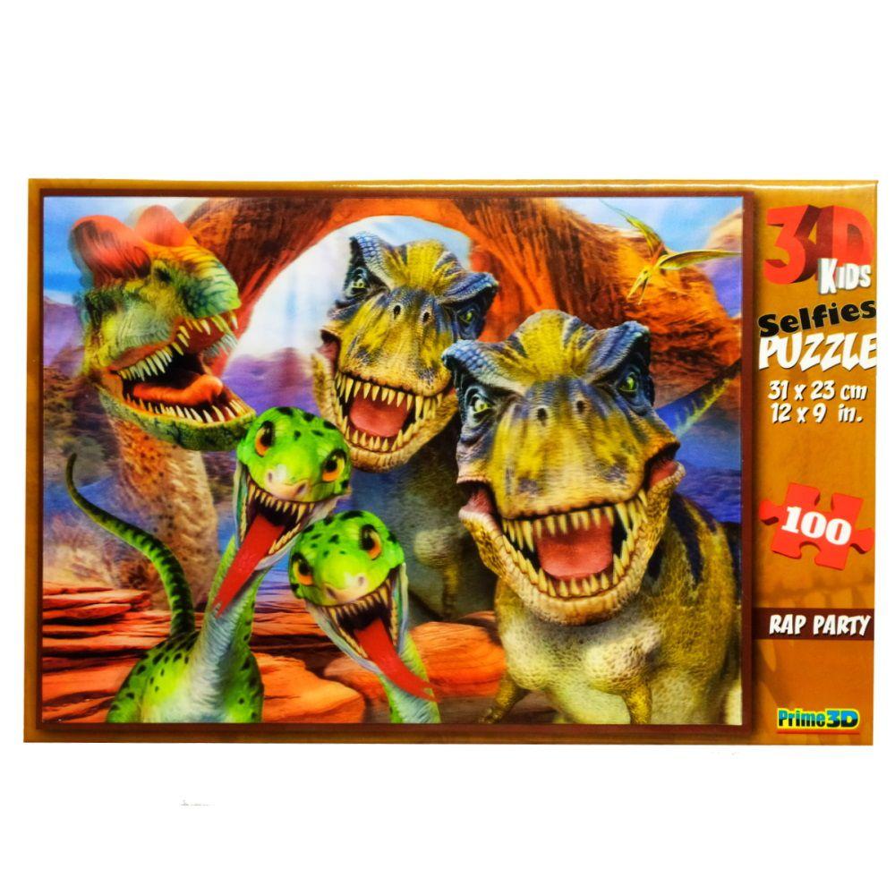 Quebra-Cabeça Super 3D Reflexivo com 100 peças Dinossauro