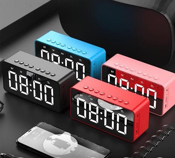 Rádio Relógio Bluetooth Despertador Digital Caixa de Som Espelhado