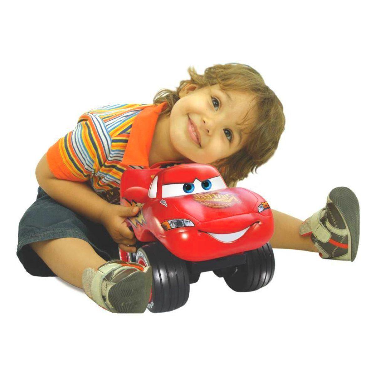 Relâmpago Macqueen Carrinho Infantil e Bebê Emborrachado Roda Livre 25cm Disney