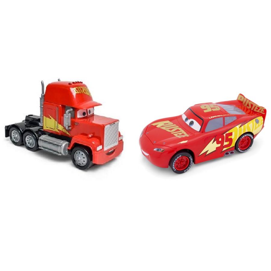 Relâmpago Mcqueen Rusteze e Mack Disney Carros Roda Livre 13cm
