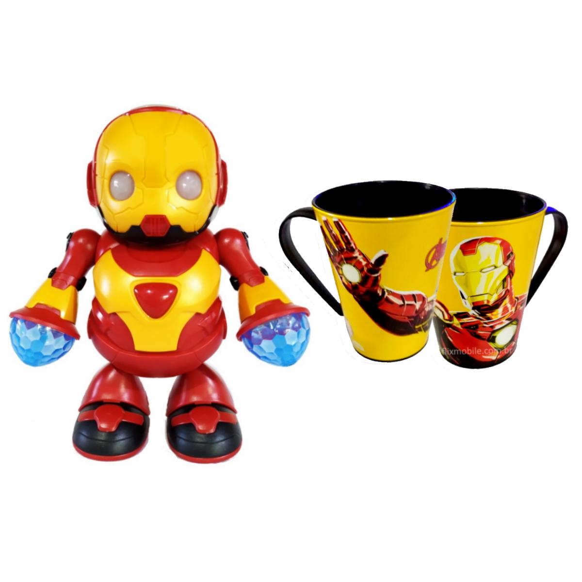 Robô Dançarino com Caneca do Homem de Ferro