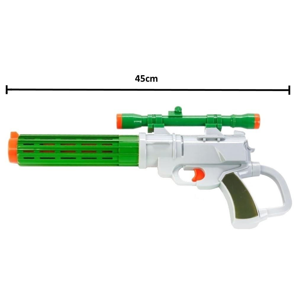 Super Arminha com Mira e 6 Dardos Grande 45cm Cinza com Verde Escuro