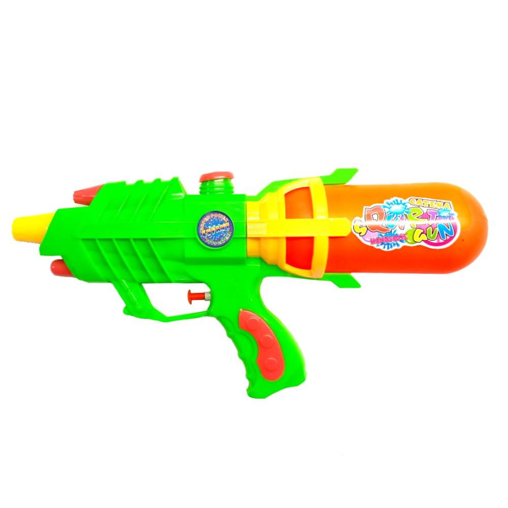 Super Pistola de Agua Jato Longo Flix Water 34cm Verde com Laranja