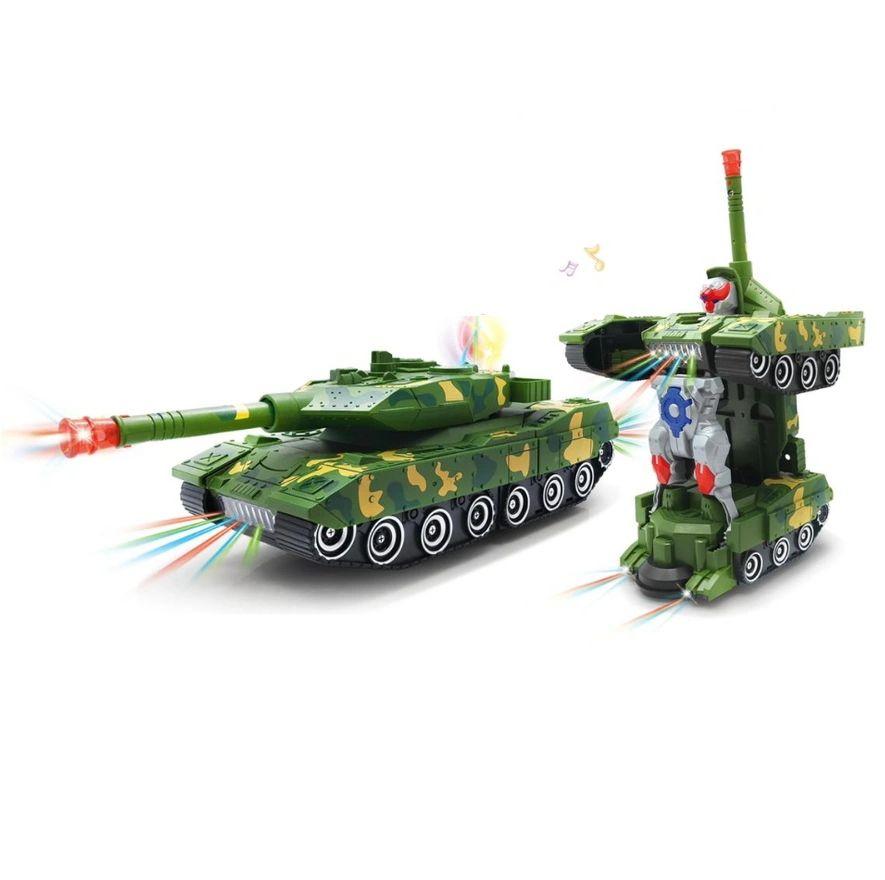 Tanque de Combate Militar Carrinho que se Transforma em Robô com Luz e Som Bate e Volta