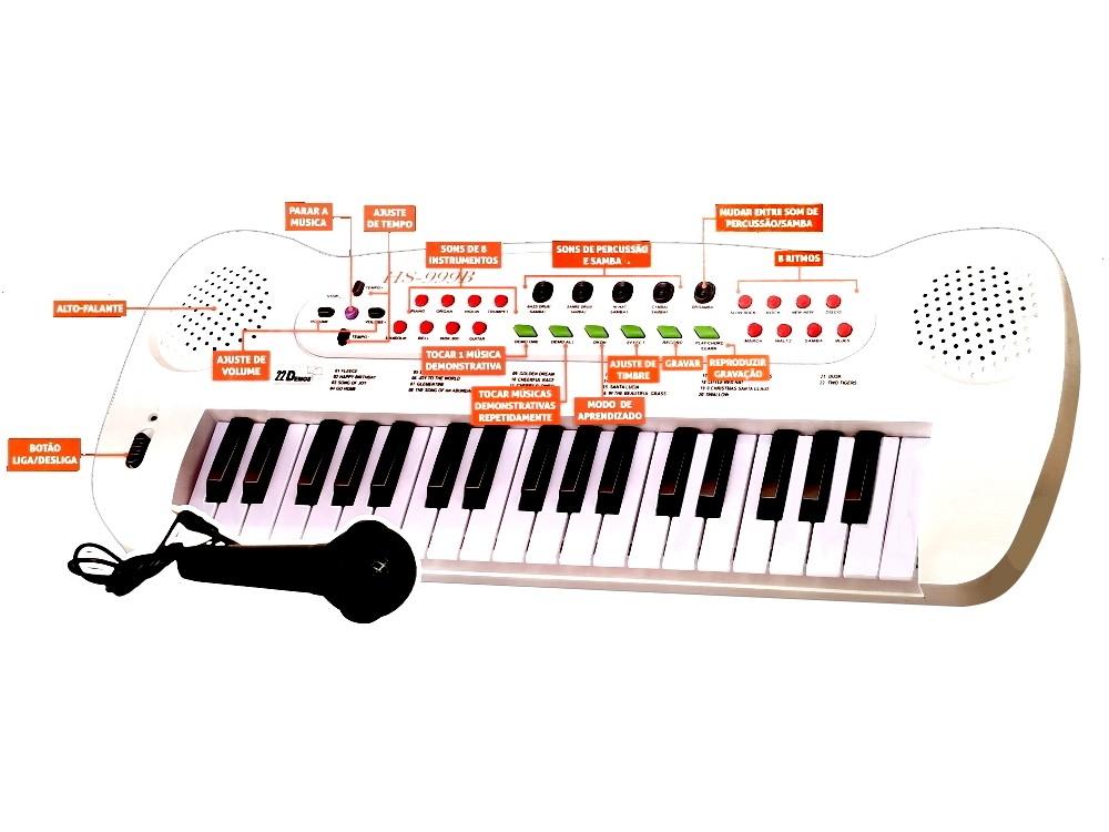 Teclado Eletrônico Infantil Para Iniciantes com Muitos Recursos Demos e Gravação Branco