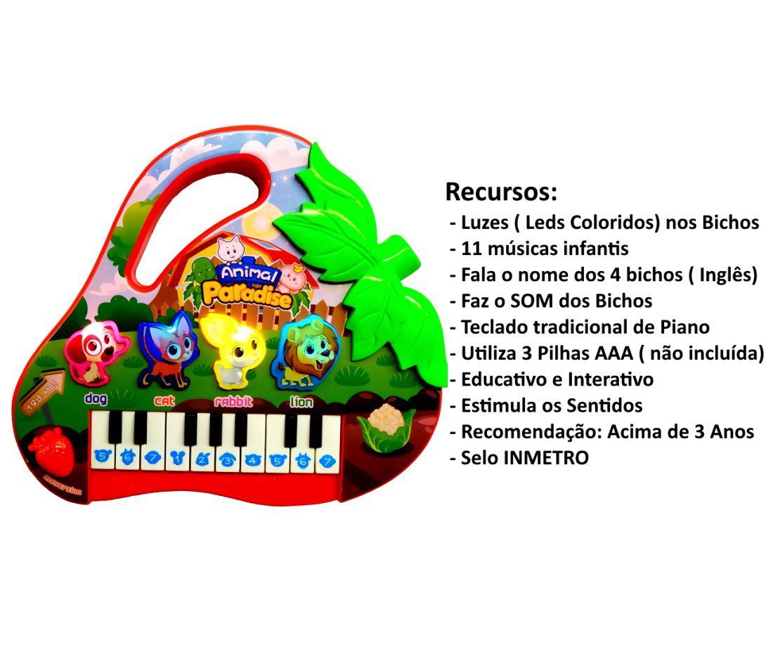 Teclado Infantil Educativo com Luzes Sons de Bichos Moranguinho
