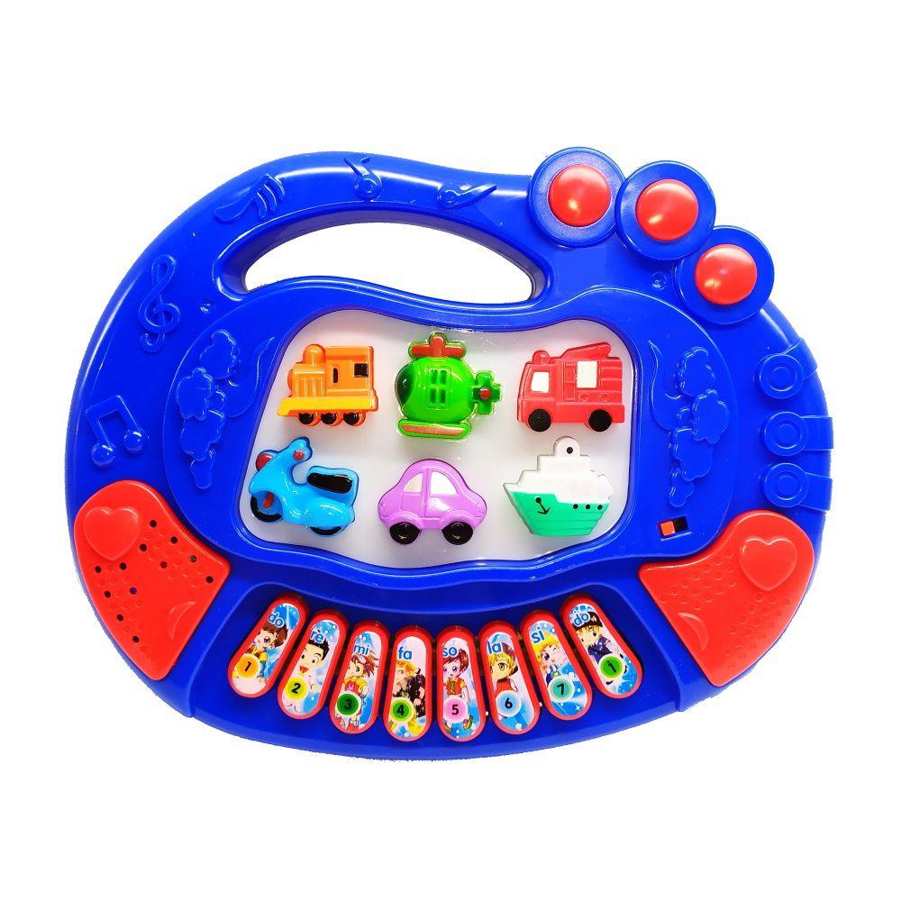 Teclado Infantil Educativo com Luzes Sons de Veículos e Músicas Azul