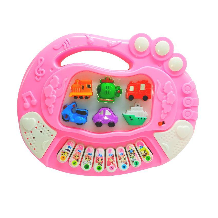 Teclado Infantil Educativo com Luzes Sons de Veículos e Músicas Rosa