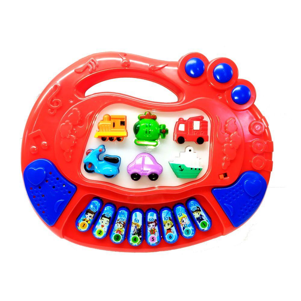 Teclado Infantil Educativo com Luzes Sons de Veículos e Músicas Vermelho