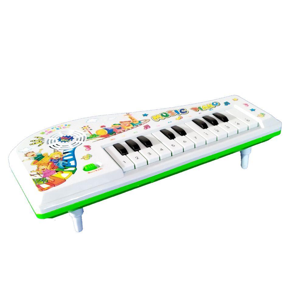 Teclado Musical Infantil Piano Do Ré Mi Fa Educativo com Músicas Branco